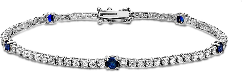 14k White Gold Round-cut Diamond 3 cttw Sapphire cheap Washington Mall Bracelet Blue