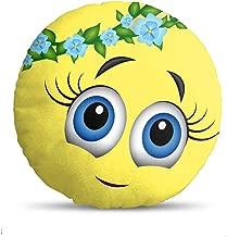 Generic Velvet Fabric Soft Toys Emoji Cushion, 14x14-inches (Multicolour)