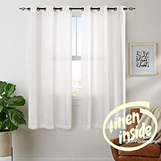 jinchan Linen Textured Curtains for Living Room Grommet Top Window Treatment Set for Bedroom 2 Panels 63 inches Long White