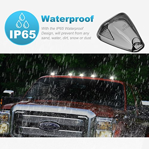 Partsam 5PCS Cab Marker Smoke Covers Lens Clearance Top Roof Running Light Lens Compatible with Ford F-150 F-250 F-350 F-450 F-550 Super Duty Pickup Trucks 1999-2016(Covers Only)