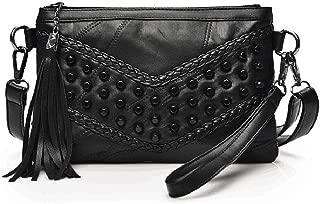 Fashion Women's Bags Soft Cowhide Crossbody Bag Solid Color Black Tassel Embellish Button (Color : Black)