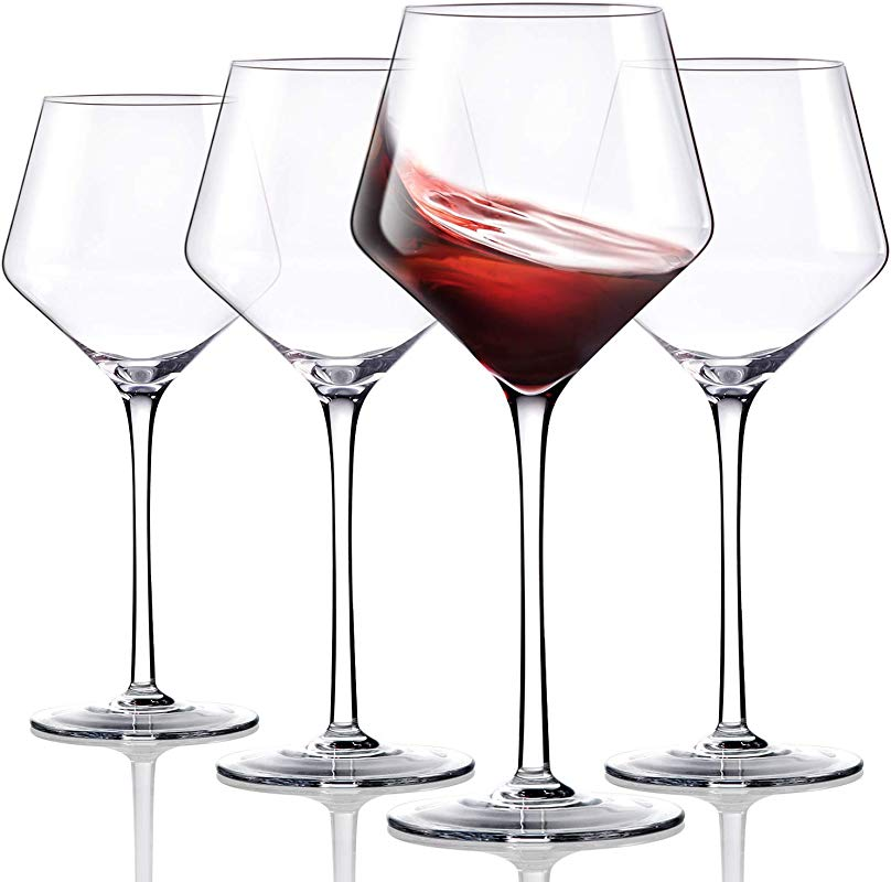 Crystal Red Wine Glasses Set Of 4 Hand Blown Burgundy Glasses Finest Crystal Lighter Ultra Thin For Best Wine Tasting 16 OZ Perfect Gifts For Anniversary Birthday