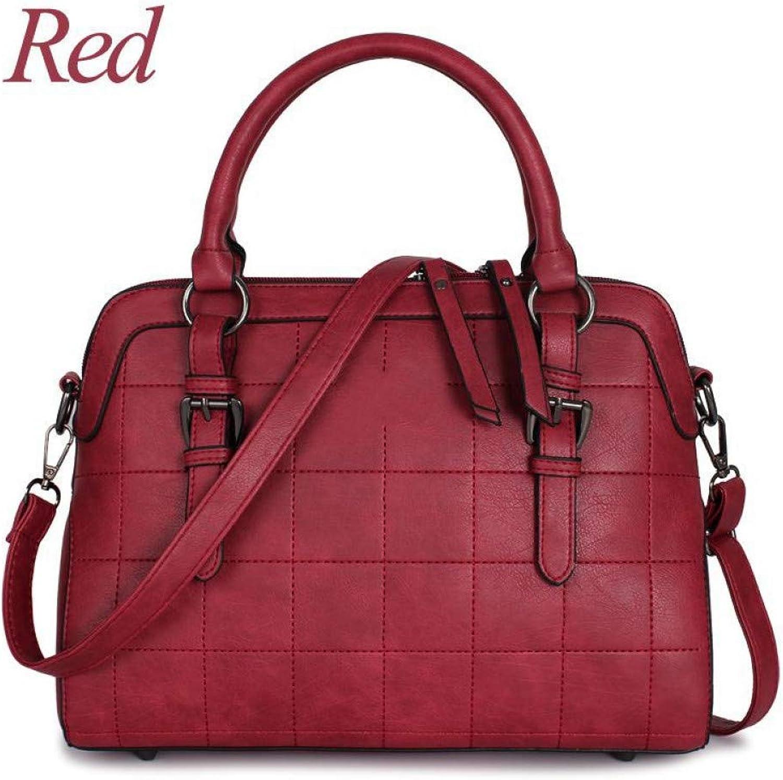 LHKFNU Women Leather Handbags Tote Bags Plaid Luxury Handbags Women Bags Designer Hand Vintage Pack