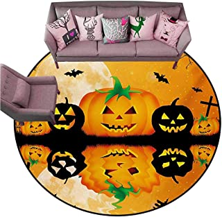 Indoor/Outdoor Rubber Mat Halloween,Spooky Carved Halloween Jack o Lantern and Full Moon with Bats and Grave Lake,Orange Black Diameter 60