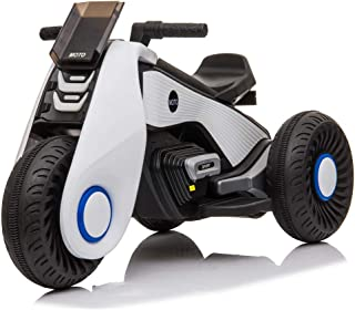 HomVent Kids Ride on Motorcycle,6V Battery Powered Electric Motorcycle 3 Wheels Double Drive Toy for 3-8 Years Old Children Boys & Girls Birthday Christmas Gift (White)