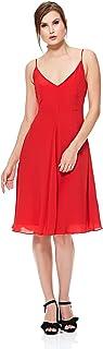 Calvin Klein Deanna Visc Crepe A Line Dress for Women - Tango, Red, Size XS