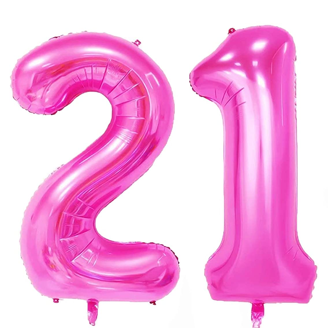40 in Big Number 21 Balloons Pink Large 21 Number Balloons for 21st Birthday Decorations by AZOWA (Pink)