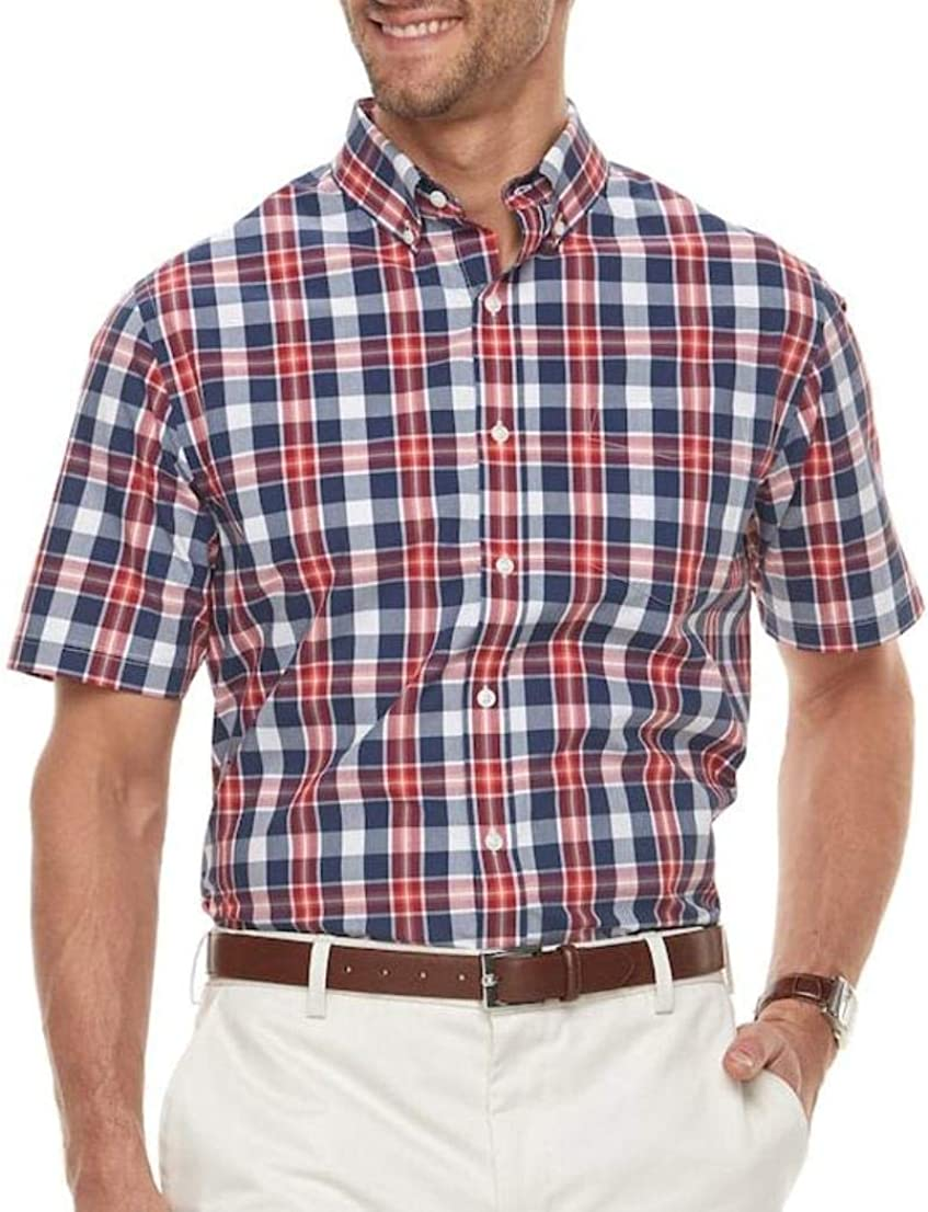 Croft & Barrow Mens Big Tall Classic Fit Short Sleeve Shirt Buttoned Down Red