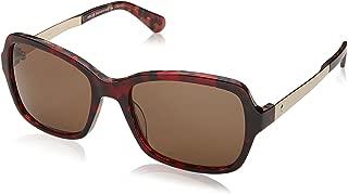 Kate Spade Women's Annjanette/s Polarized Rectangular Sunglasses, HAVAN RED, 55 mm