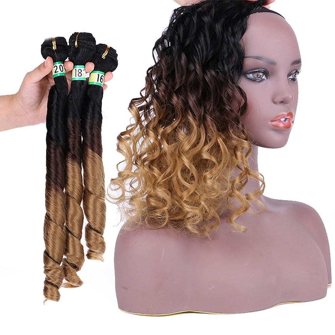 抽出パシフィックハシーYrattary 女性の黒のグラデーションブラウンの人工毛3バンドル春の毛のエクステンション合成髪のレースのかつらロールプレイングウィッグロングとショートの女性自然 (色 : ブラウン, サイズ : 16inch-20inch)