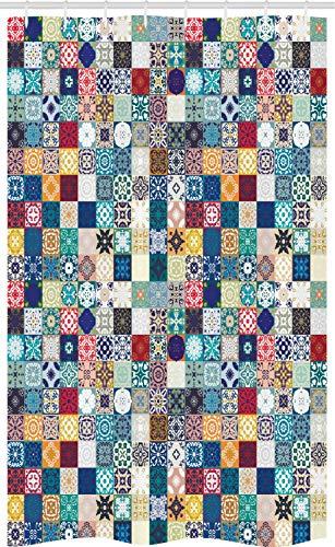 ABAKUHAUS marroquí Cortina para baño, Ornamentado con Motivos Patchwork, Tela con Estampa Digital Apta Lavadora Incluye Ganchos, 120 x 180 cm, Multicolor