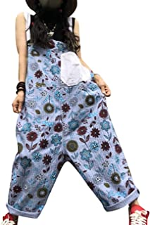 PDL Casual Loose Overalls Floral Jumpsuits Striped Contrast Color Low Crotch Pockets