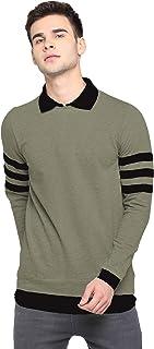 LEWEL Men's Cotton Collared Neck Self Design T-Shirt - Olive