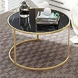 Table Basse à Motif Marbre, Table Basse Ronde Bouts De Canapé De Salon Moderne Bout De Canapé à Café Avec Cadre En...