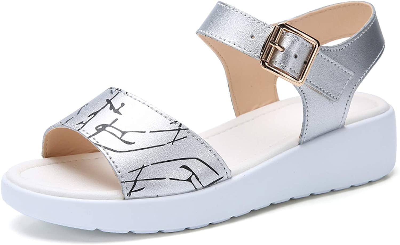 ZHOUZJ Summer White Women Sandals Woman Leather Casual Print Flat Platform Wedges Sandals Ladies