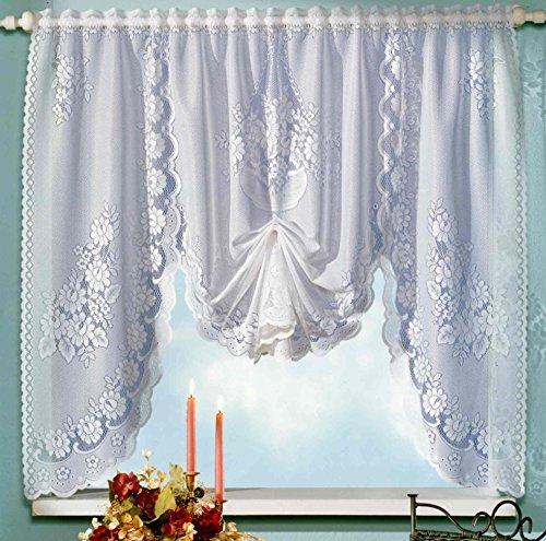 M-vel vitrage in wit bloemen jacquard raambeeld HxB 120 x 150 cm gordijn hoograp - Store gordijn type 14