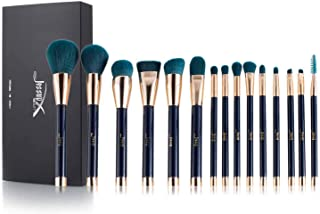 Jessup 15pcs Makeup Brushes Set Powder Foundation Eyeshadow Eyeliner Lip Contour Concealer Smudge Brush Tool Blue/Darkgreen T113