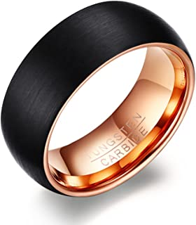 Vnox Banda uomo 8mm del carburo di tungsteno nero Wedding Ring opaco finito,oro rosa Dentro
