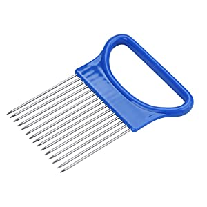 Assistant Food Slicers Tomato Onion Vegetables Slicer Handheld Food Slice Assistant Holder Kitchen Gadgets Cutting Aid Holder Guide Slicing Cutter Stainless Steel Slicer Chopper Kitchen Tool (Blue)