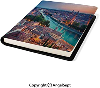 Stretchable PU Book Covers,Verona Italy During Summer Sunset Blue Hour Adige River Medieval Historcal Aqua Coral Green,9