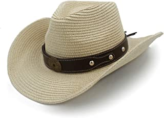 Mens Straw Western Cowboy Hats Summer Beach Sombrero Cowgirl Sun Caps Unisex 466a76d43cc5