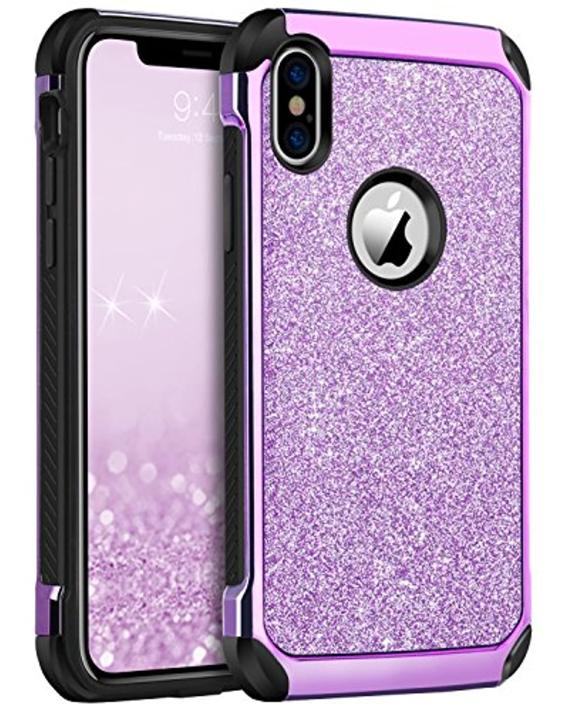 iPhone X/10 Case, iPhone XS Phone Case, BENTOBEN Shockproof Glitter Sparkle Bling 2 in 1 Hybrid Shiny Faux Leather Hard PC Soft Bumper Protective iPhone X/XS 5.8