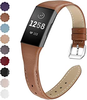 NANW Bands Compatible with Fitbit Charge 3, Slim Genuine Leather Wristband Replacement Accessories Strap for Women Men Compatible with Fitbit Charge 3 / Charge 3 SE Small Large