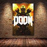 Aishangjia Póster del Juego Impresiones en Lienzo Videojuegos clásicos de Halo The Ultimate Doom Imágenes artísticas de Pared para la decoración del hogar de la Sala de Estar 50x70 cm A-1462
