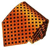 LORENZO CANA - Marken Krawatte aus 100% Seide - Orange Schwarz Karo - karierte Seidenkrawatte - 84458