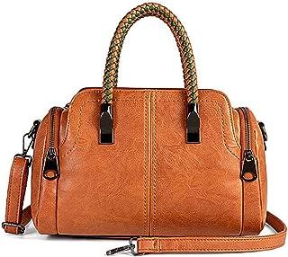 Women Boston Bags Top Handle Knit Satchel Handbags Faux Leather Shoulder Purse