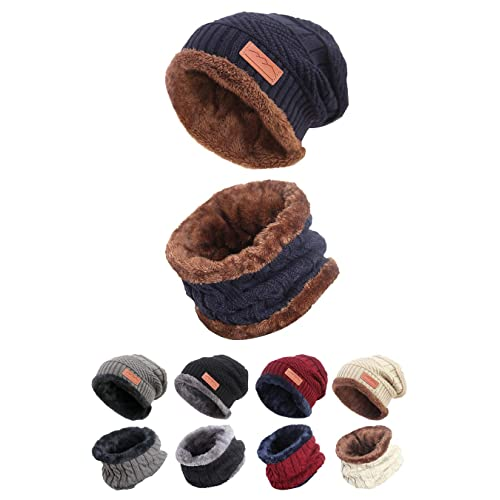 7de39c56975 STYLE SLICE Fleece Lined Hat and Scarf Sets Mens Womens Unisex Knitted -  Beanie Circle Loop