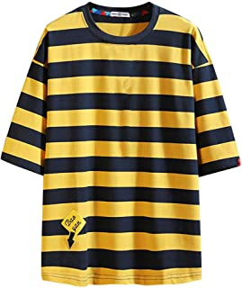 IHGTZS T-Shirts for Men, Men's Summer Casual Fashion Loose Stripe O-Neck Short Sleeve T-Shirt Tops