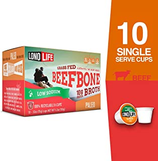LonoLife Low-Sodium Grass-Fed Beef Bone Broth Powder with 10g Protein, Paleo and Keto Friendly, Single Serve Cups, 10 Count