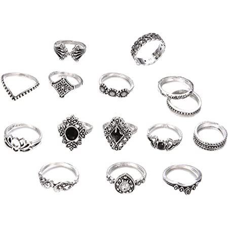 Buty 15 Pc/Set Retro Anello di Barretta Set Moda Bohemian Intagliato Joint Anelli di Cristallo Knuckle Vintage Ring Set per Le Donne Ragazze