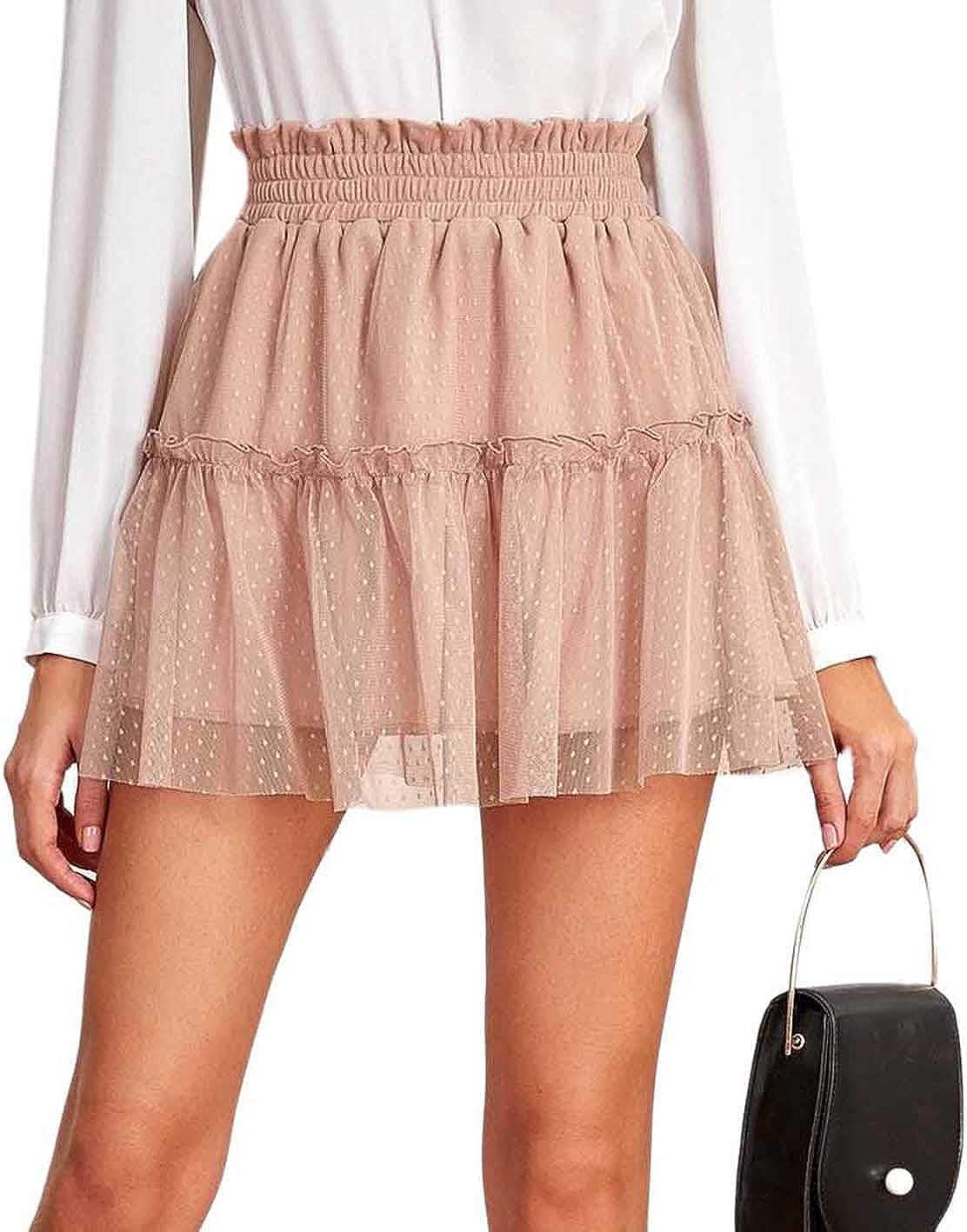 Milumia Women's Lace Dot Ruffle Hem Elastic High Waist A Line Skater Mini Skirt Pink Large