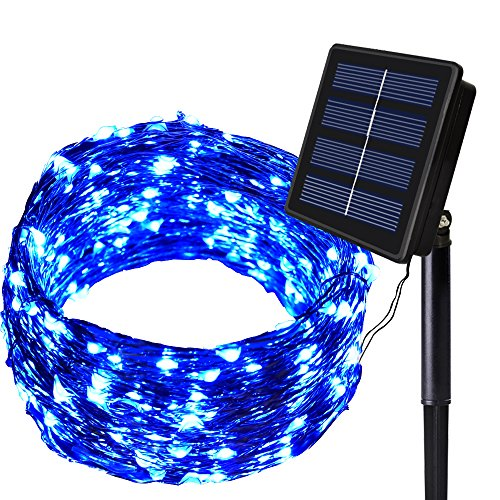 Solar String Lights ,200 LED Solar Lights Outdoor 8 Modes Blue Christmas Lights Waterproof Solar Fairy Lights for Pool Garden Patio Wedding Party Christmas Holiday Outdoor Decorative
