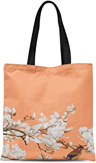 S4Sassy Green Blossom & Bulbul Bird Print Canvas Shopping Tote Bag Carrying Handbag Casual Shoulder Bag 16x12 Inches