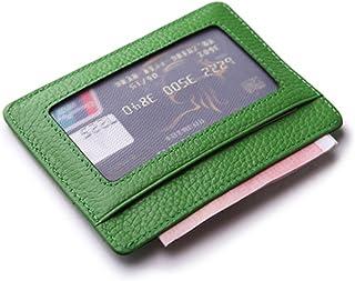 Artmi RFID Blocking Leather Slim Card Holder Women Card Case Mens Wallet with ID Window (Green with ID Window)