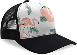 Structured Classic Plain Baseball Cap Unisex Hat Adjustable Plastic Buckle Max Comfort (Flamingo Jungle White Mint)