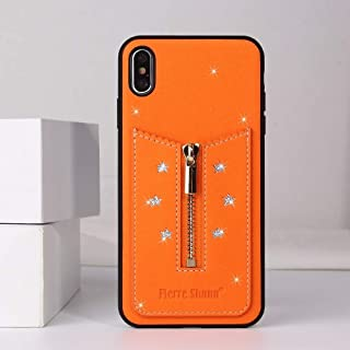 For iPhone XS Max Starry Sky Star Zipper Protective Case with Card Slot New(Black) Hopezs (Color : Orange)