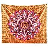 JOTOM Tapiz de Pared para Colgar en la Pared decoración para Dormitorio, Sala de Estar,Hogar (Mandala Naranja, 150_x_200_cm)