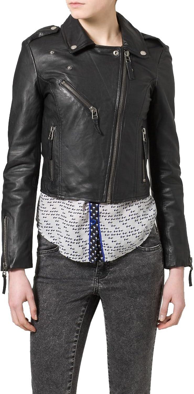 New Women Motorcycle Black Lambskin Leather Jacket Coat Size XS S M L XL LTN075