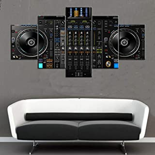 Wall Decorations for Living Room DJ Mixer Controller Pictures 5 Panel Canvas Art Turntables Paintings,Modern Artwork Home Decor Giclee Frame Stretched Ready to Hang Posters and Prints(60''Wx32''H)