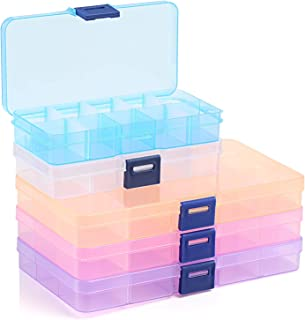 LEMESO 5pcs Jewelry Organizer, Small Plastic Jewelry Box with Movable Dividers, Containers for Beads, Earring, Rings, Ligh...