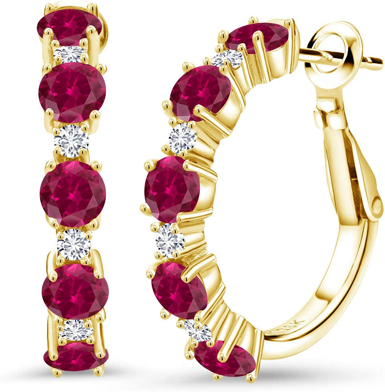 Gem Stone King Under blast sales 2.80 Ct Red Soldering Created Lab Grown G H Diamond 18 Ruby