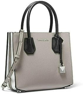 MICHAEL Michael Kors Mercer Medium Tri-Color Leather Accordion Crossbody Bag in Pearl Grey