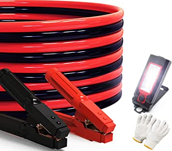 Heavy Duty Jumper Cables 0 Gauge x 30Ft 1000AMP Smart Booster Cables with Carry Bag and Light: image