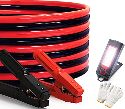 Heavy Duty Jumper Cables 0 Gauge x 25Ft 1000AMP Smart Booster Cables with Carry Bag and Light: image