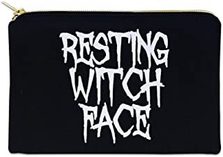 Resting Witch Face 12 oz Cosmetic Makeup Cotton Canvas Bag - (Black Canvas)
