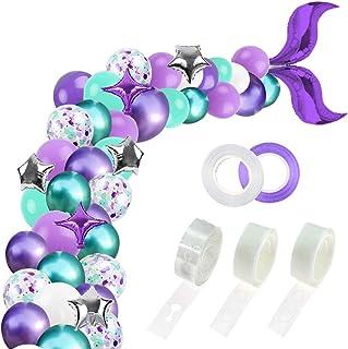 RUBFAC 312pcs Mermaid Party Supplies, Mermaid Tail Balloon Garland Set, Mermaid Arch Kit, for Mermaid Birthday Supplies, Under The Sea Party, Ocean Theme Party Supplies, Undersea Prefabricated